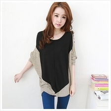 Trendy Mix Color Batwing Casual Loose Top