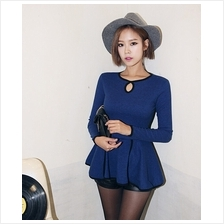 Trendy Lady Peplum Long Sleeve Top