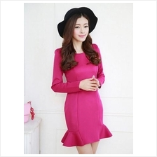 Fashion Round Neck Ruffle Slim Mini Dress