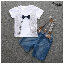 Kids Age 1  – 8 ~Bow Tie Top with Suspender Pants)