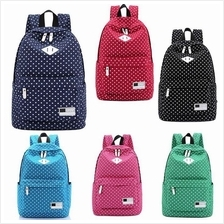 Backpack Casual Stylish Canvas Backpack Polka Dot School Shoulder Bag