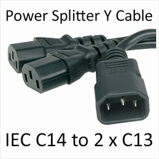 Quality IEC C14 Male to 2 x C13 Female Splitter Power Y Cable Cord 1.8