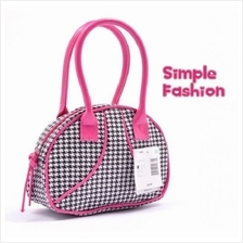 02811 New retro nylon + pu leather shoulder handbag