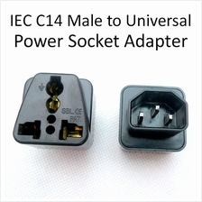 IEC C14 Male to Universal UK US Socket PDU UPS Power Adapter Converter
