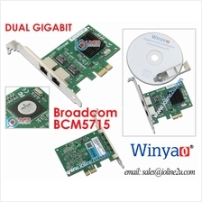 Dual port Gigabit LAN network card PCIe ethernet Low Profile Bracket Broadcom