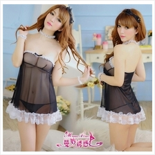 Wrapped Ches Babydoll Dress + Handcuff Costume Sleepwear Lingerie