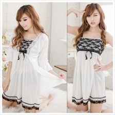 White Ice Silk Robes + Babydoll Dress + G-string Sleepwear Set