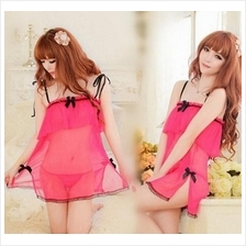 Rose Pink Tube Wrapped Ches Babydoll Dress + G-string Lingerie Sleepwe