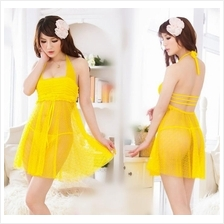 Yellow Lace Babydoll Dress + G-string  Sleepwear Lingerie