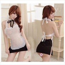 Black White Lace Miad Dress + G-string  Costume Cosplay Sleepwear
