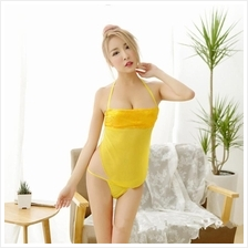 Yellow Wrapped Ches Babydoll Dress + G-string  Sleepwear Lingerie