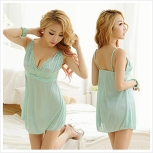 Light Green Ice Silk Babydoll Dress + G-string  Sleepwear Lingerie