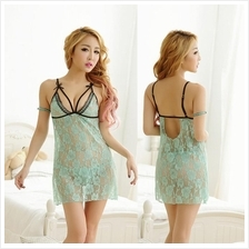 Green Lace Babydoll Dress + G-string  Sleepwear Lingerie