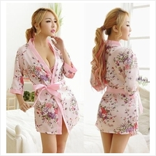 Pink Ice Silk Robes Japanese Kimono Lingerie Sleepwear Set