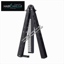 Barber Stainless Steel Balisong Style Butterfly Switch Comb for Pomade