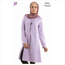 Abelie Front Slit Long Tunic Blouse F390-Purple)