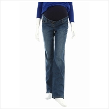 Simple Maternity Straight Cut Denim Long Pants ( S ) - Dark Blue)