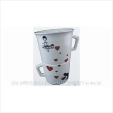 New Couple Lover Stack Two Cups Set White Ceramics Drinking Love Mugs