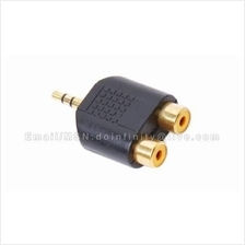 3.5mm Male to 2 RCA Female Stereo Audio Gold Plug Adapter Converter