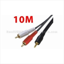 New 3.5mm Male to 2 RCA Male Stereo Audio Cable 10M HiFi Speaker MP3