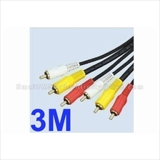 3 RCA L+R+V Composite AV Audio Video Gold Plated Male Cable 3M TV New