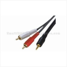 New 3.5mm Male to 2 RCA Male Composite Auxiliary Stereo Audio Cable 3M