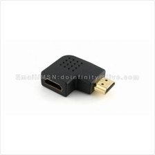 New HDMI Left 90 Degree Flat Male to Female Gold Converter Adapter