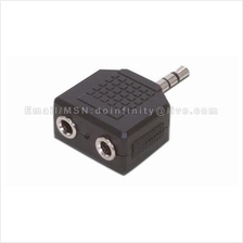 3.5mm Stereo Male to 2 Female Audio Splitter Couple Adapter MP3 PC New