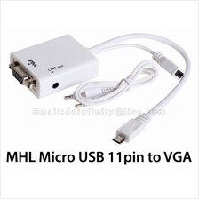 New Micro USB 11pin to VGA 3.5mm Audio MHL Adapter Galaxy S3 S4 Note2