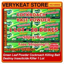 GREEN LEAF Cockroach Bait Destroy Killer Powder 20 Boxes WHOLESALE