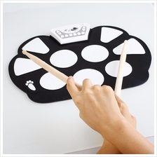 Professional Roll Up Electric Drum Pad Kit Silicon Foldable with Stick