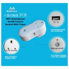 WiFi Power Point Socket With USB Charging Port On/Off  by Smartphone