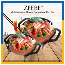 ZEEBE Multifunction Electric Steamboat Hot Pot Non Stick Pan 3L or 5L