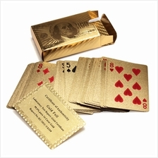 Certified Pure 24 K Carat Novelty Gold Foil Plated Poker Playing Cards