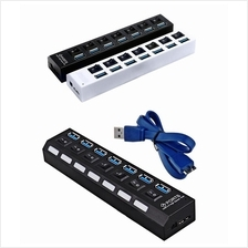 USB HUB 3.0 Super Speed 5Gbps 7 Ports Splitter With On/Off Switch and