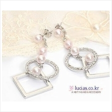 03290 Korean star diamond pearl earrings