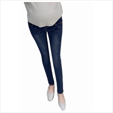 Simple Slim Fit Maternity Denim Long Pants Jeans ( XL, XXL, XXXL ) - Dark Blue)