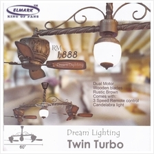 Twin Turbo 60-nch 8-Blade Dual Motor come with Candelabra light Remote control