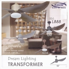 TRANSFORMER 52-Inch 4-Blade 6Speed Remote Ceiling Fan (DC Motor)