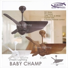 BABY CHAMP 36-Inch 3-Blade 6Speed Remote Ceiling Fan (DC Motor)