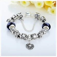 BAMOER 925S Silver Charm Bracelet with Best Wishes European Blue