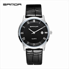 SANDA P188G Genuine Leather Black Date Display Watch Men(Black Silver)