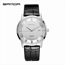 SANDA P188G Genuine Leather Black Date Display Watch Men(White Silver)