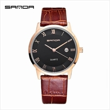 SANDA P188G Genuine Leather Brown Date Display Watch Men (Black Gold)