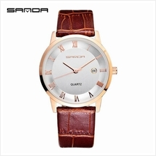 SANDA P188G Genuine Leather Brown Date Display Watch Men (White Gold)