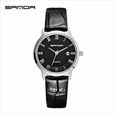 SANDA P188L Genuine Leather Black Date Display Watch Women-BlackSilver