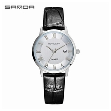 SANDA P188L Genuine Leather Black Date Display Watch Women-WhiteSilver