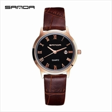 SANDA P188L Genuine Leather Brown Date Display Watch Women(Black Gold)