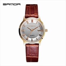 SANDA P188L Genuine Leather Brown Date Display Watch Women (WhiteGold)