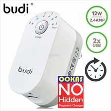 Budi 12W 2.4A 2 USB Safety Timer Charger Phones Tablets UK 3pin